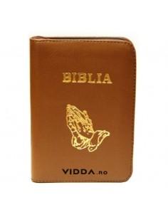 Biblia - Format mic - Maro deschis - In piele cu fermoar