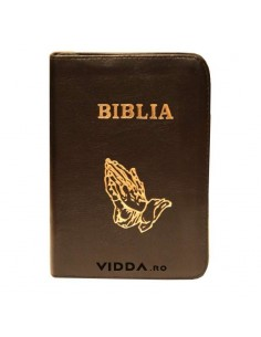 Biblia - Format mic - Maro inchis - In piele cu fermoar