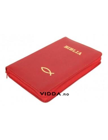 Biblia - Format mediu - Rosie - In piele cu fermoar - Peste auriu