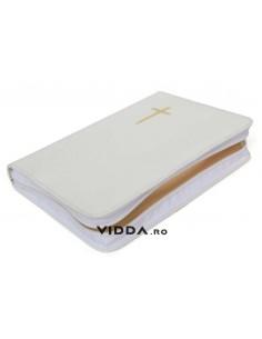 Biblia de lux - Format mediu - Margini aurii - Alba - In piele cu fermoar