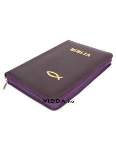 Biblia - Format mediu - Mov - In piele cu fermoar - Peste auriu