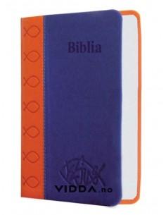 Biblia de buzunar - Portocaliu albastru - Piele ecologica - Biblia mica cu caractere mari