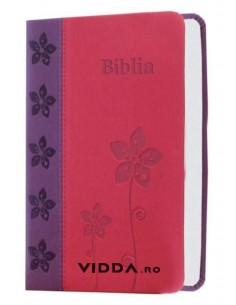 Biblia de buzunar - Roz mov - Piele ecologica - Biblia mica cu caractere mari