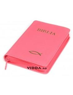 Biblia - Format mic - Roz - In piele cu fermoar - Peste auriu