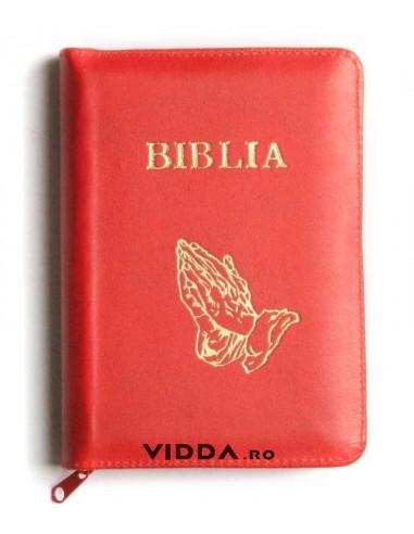 Biblia - Format mic - Rosie - In piele cu fermoar - Maini in rugaciune