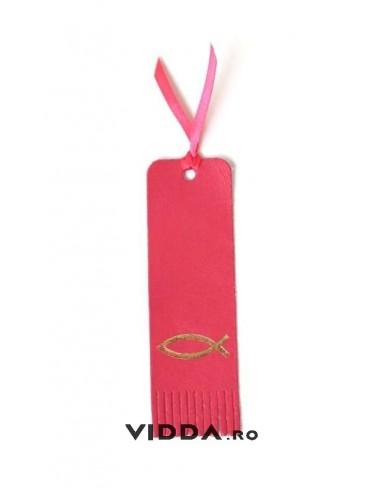 Semn de carte rosu din piele cu peste auriu