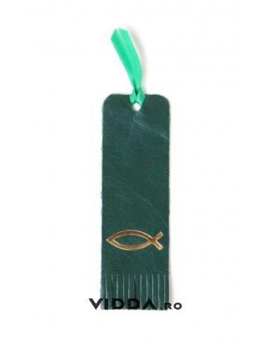 Semn de carte verde din piele cu peste auriu