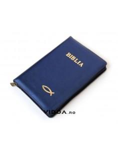 Biblia - Format mediu - Albastra - In piele cu fermoar - Peste auriu