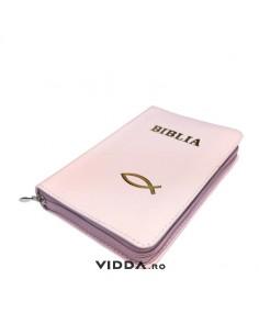 Biblia - Format mic - Roz deschis - In piele cu fermoar - Peste auriu