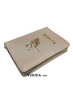 Biblia - Format mediu - Crem - In piele cu fermoar - Maini in rugaciune
