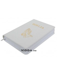 Biblia - Format mic - Alba - In piele cu fermoar - Maini in rugaciune