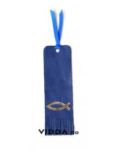 Semn de carte albastru din piele cu peste auriu