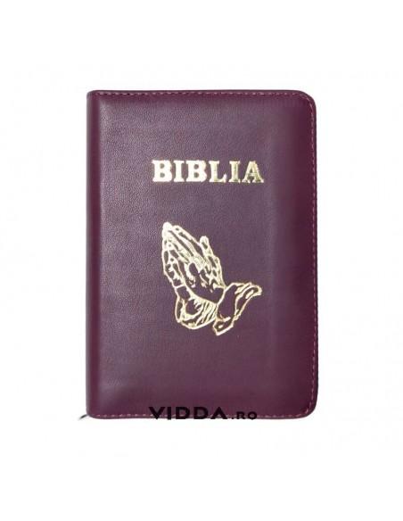 Biblia - Format mic - Maro - In piele cu fermoar - Maini in rugaciune